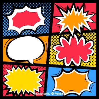 Burbujas de discurso vacío cómico retro en colores de fondo