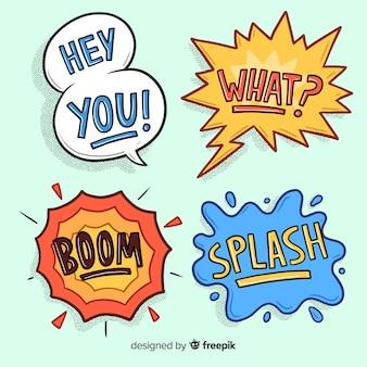 Burbujas de discurso vacío cómico vintage en fondo azul