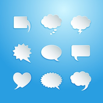 Burbujas de discurso vacío con ilustración de vector de sombra