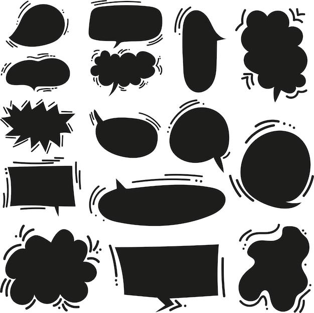 Burbujas de discurso de vector de dibujos animados lindo doodle conjunto grande en estilo cómic