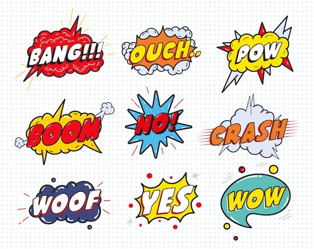 Burbujas de efecto de discurso de sonido cómico conjunto aislado. wow, pow, bang, ouch, crash, woof, no, yes lettering.