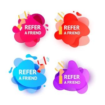 Burbujas de forma líquida de onda de color degradado con el mensaje recomienda a un amigo
