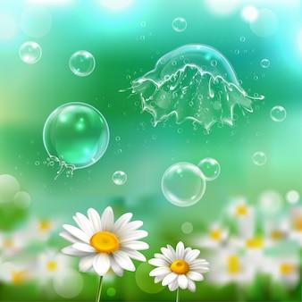 Burbujas de jabón flotando explotando explotando explotando sobre la imagen realista de flores de manzanilla con ilustración de fondo verde borroso