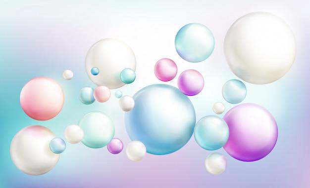 Burbujas de jabón o esferas brillantes de colores opacos que vuelan al azar en un arco iris de color desenfocado.