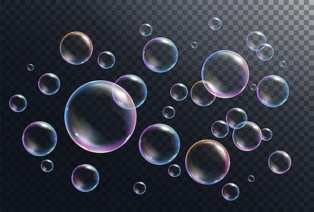 Burbujas de jabón realistas burbujas de arco iris realistas en la ilustración de fondo transparente