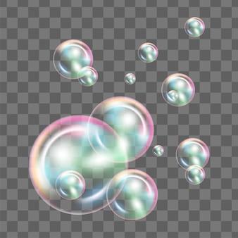 Las burbujas de jabón realistas con la reflexión del arco iris fijaron la ilustración aislada del vector