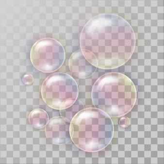 Burbujas de jabón realistas con la reflexión del arco iris.