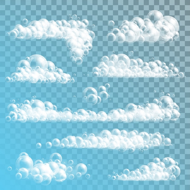 Burbujas de jabón realistas en transparente