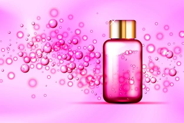Burbujas rosas y frasco de vidrio de perfume sobre fondo de seda abstracto