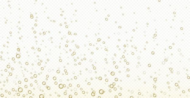 Burbujas de soda, champán, agua u oxígeno en el aire efervescente