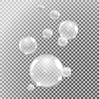 Burbujas submarinas, burbujas de agua sobre fondo transparente,