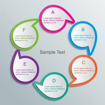 Burbujas de texto circulares apuntando entre ellas