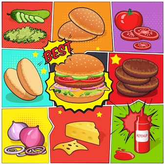Burger comic book page