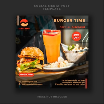 Burger food y plantilla de promoción de publicaciones en redes sociales culinarias