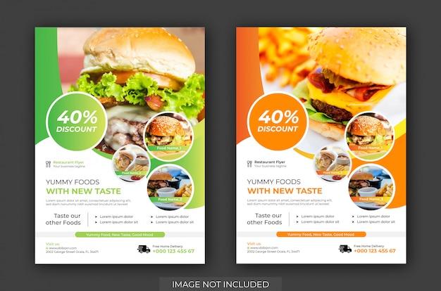 Burger shop flyer & poster template vector. plantilla de volante de restaurante
