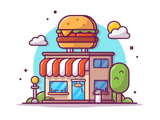 Burger shop restaurante de comida rápida edificio con hamburguesas, nubes y árboles, ilustración blanco aislado