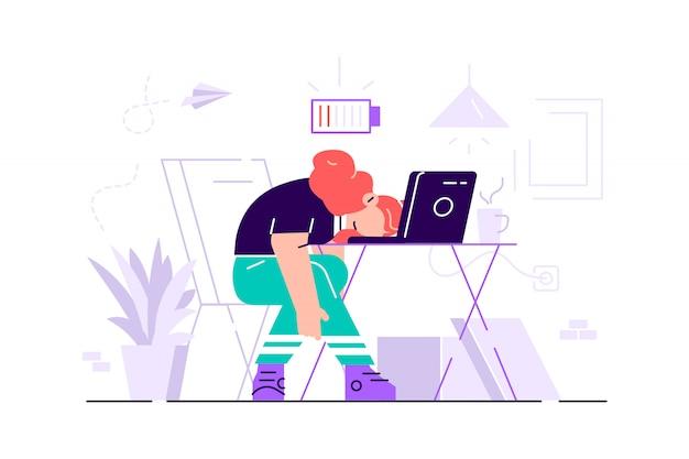 Burnout profesional. día largo. millennials en el trabajo. ilustración plana