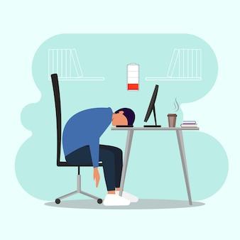 Burnout profesional. empleado durmiendo en el lugar de trabajo.