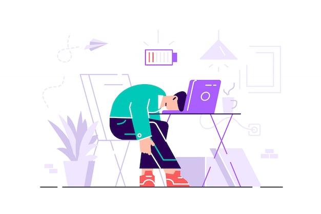 Burnout profesional. larga jornada laboral. millennials en el trabajo. ilustración plana