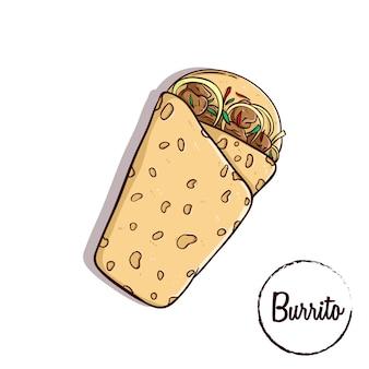 Burrito de comida tradicional mexicana