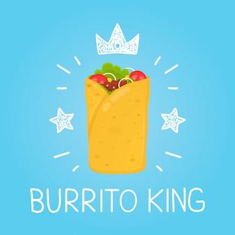 Burrito de rey. dibujos animados plana y doodle diversión ilustración aislada. icono de corona y estrellas. burrito cafe, comida, entrega, comida rapida