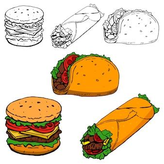 Burrito, taco, hot-dog ilustraciones dibujadas a mano sobre fondo blanco.