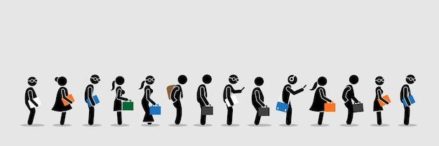 Buscadores de empleo o trabajadores de oficina y empleados haciendo cola en una fila.