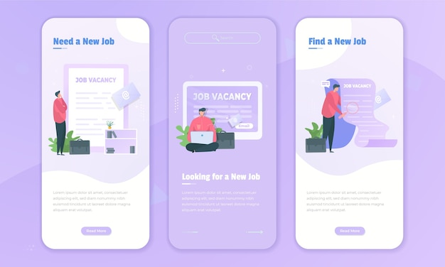 Buscadores de empleo que buscan puestos vacantes en el concepto de pantalla a bordo