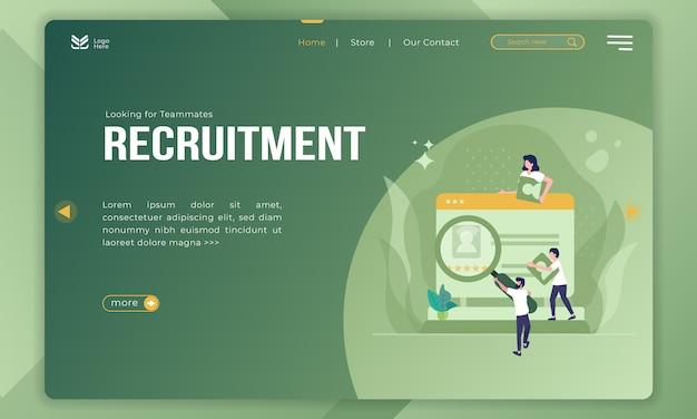 Buscando compañeros de equipo, ilustración de reclutamiento en la página de destino