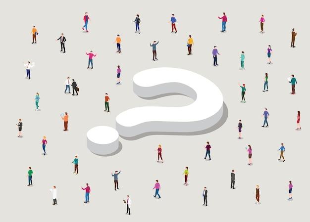 Buscando el concepto de respuesta con un gran signo de interrogación y la gente circula con una ilustración de estilo isométrico moderno