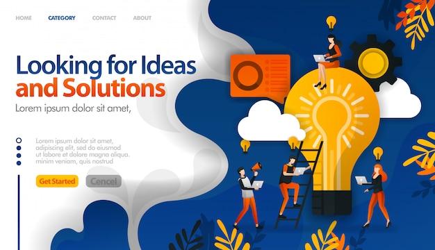 Buscando ideas y soluciones a problemas, intercambiando ideas para ideas.