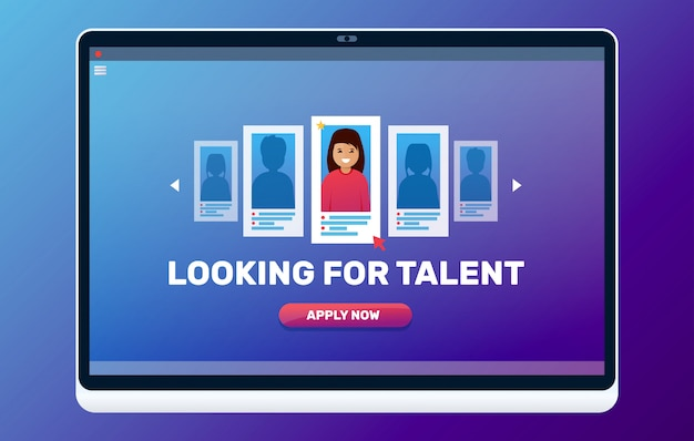 Buscando ilustración de talento web. concepto de entrevista de trabajo.