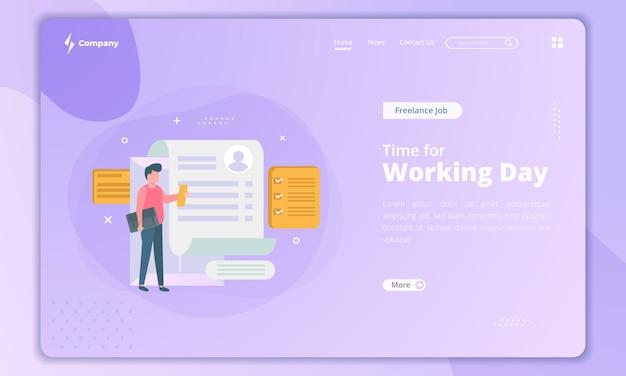Buscando un nuevo trabajo, tiempo para el concepto de jornada laboral en la página de destino