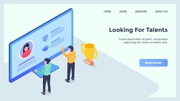 Buscando talentos contratar personas concepto para la página de inicio de la plantilla del sitio web con plano isométrico moderno