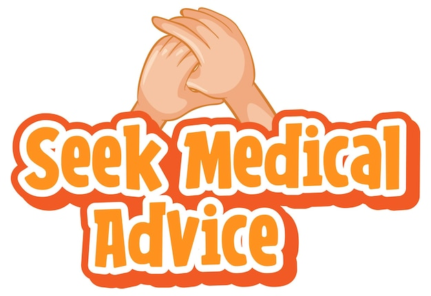 Buscar fuente de asesoramiento médico en estilo de dibujos animados con las manos juntas aisladas