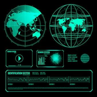 Buscar radar pantalla conjunto de elementos azules