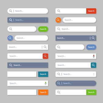 Buscar ui. barras de búsqueda en internet con botones, cuadros de interfaz del navegador web para el menú del sitio.