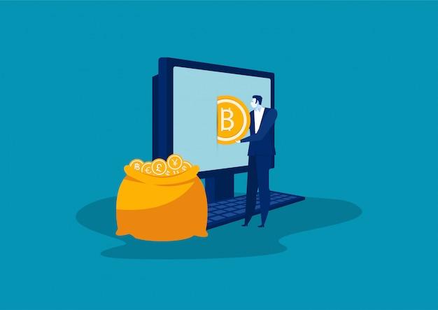 Businesman pone bitcoins dorados en una bolsa desde un vector portátil.