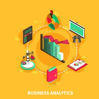 Business analytics composición isométrica redonda