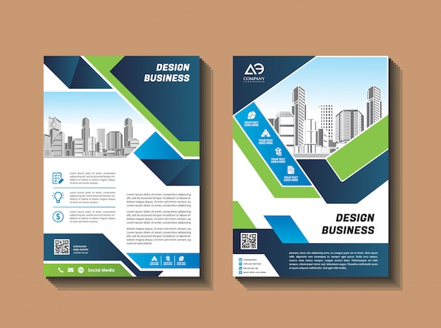 Business brochure design template flyer layout magazine informe anual