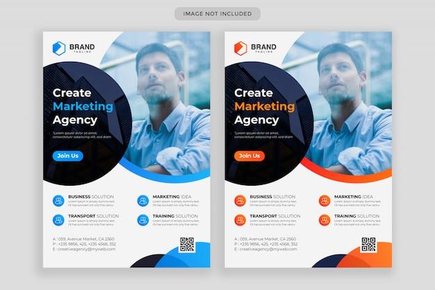 Business flyer código qr diseño de plantilla