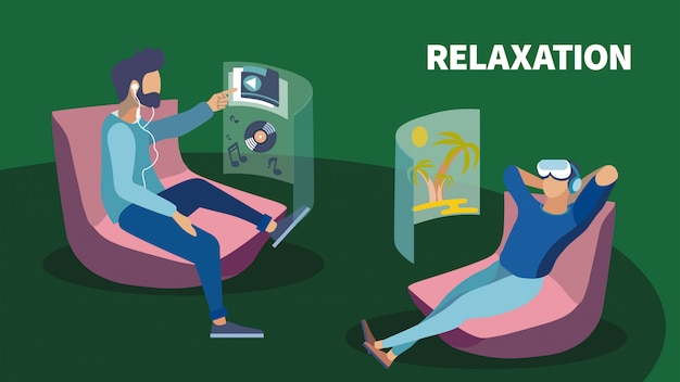 Business lounge zone realidad virtual relax banner