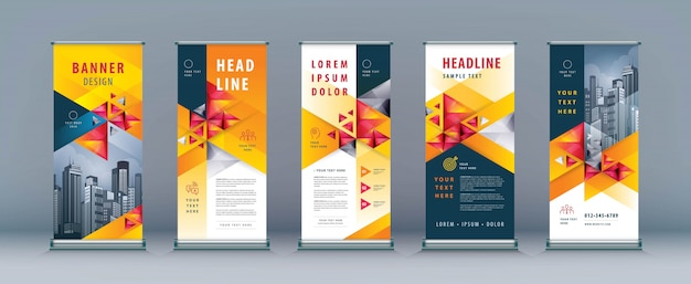 Business roll up set, standee banner template, triángulo geométrico