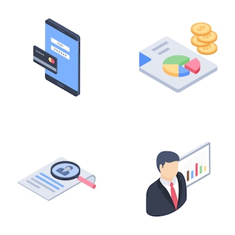 Business, startup development glyph icons pack