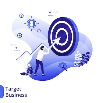 Business target flat illustration, el concepto de un hombre que lleva una flecha gráfica hacia el tablero de destino