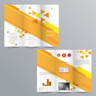 Business tri-fold brochure, diseño de plantillas con presentación de página anterior y posterior.
