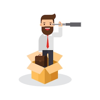 Businessmanan pensando fuera de la caja
