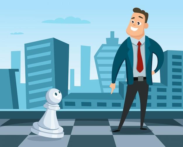 Businessmantanding en un tablero de ajedrez