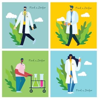Busque un médico. médicos del equipo en segundo plano. ilustración de vector de estilo plano