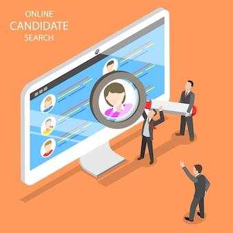 Búsqueda de candidatos en línea plana isométrica. el grupo de gerentes de recursos humanos está buscando un nuevo empleado.
